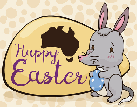 Poster with cute bilby holding a decorated egg with stars and a greeting sign with a map for Australian Easter.