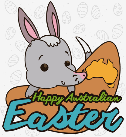 Poster with cute bilby over a sign like a boomerang with a Australian map and background with eggs in doodle style to celebrate the Easter season. Illustration