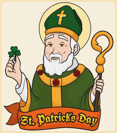 Conception de dessin animé avec l'image de Saint Patrick, tenant un trèfle et un bâton pastoral derrière un ruban de voeux pour sa journée commémorative.