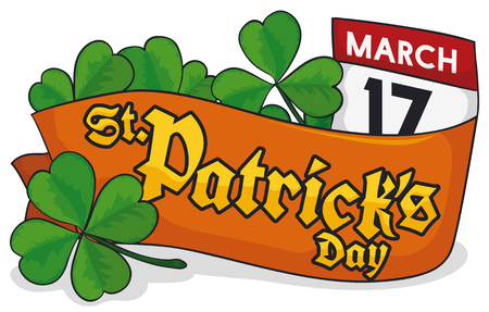 Banner with a four-leaf shamrock, a ribbon lay on it, some trefoil clovers and a loose-leaf calendar with reminder date for St. Patricks Day celebration.