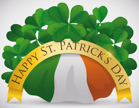 Festive poster with greeting ribbon, clovers and Ireland flag for St. Patricks Day celebration.