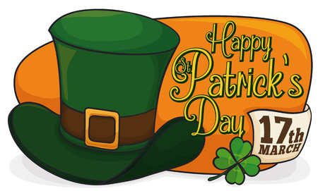 Banner with green leprechaun hat, lucky clover, greeting message and reminder date for St. Patrick's Day celebration.