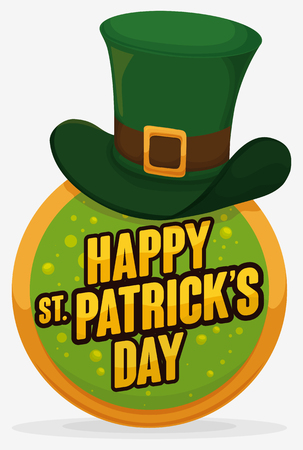Commemorative design for St. Patricks Day with a round button, bubbly design inside, golden greeting and a leprechauns hat in the top. Illustration