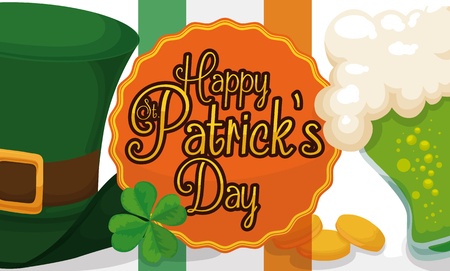 Banner with traditional elements ready to celebrate the St. Patricks Day: leprechauns hat, lucky four-leaf clover, Irish flag, green beer and gold coins. Illustration