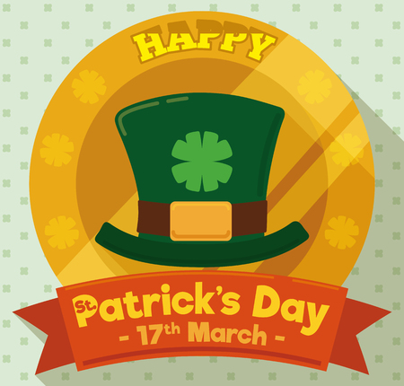 Round button in flat style with leprechaun hat, queatrefoil design in the middle and a greeting message written in the ribbon for St. Patrick's Day celebration in March 17.