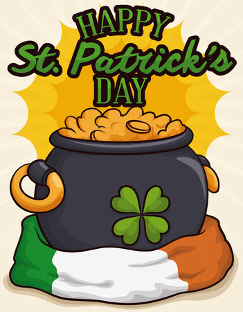 Colorful cartoon poster with Irish flag around a pot full of gold with a four-leaf clover design and greeting sign for St. Patrick's Day celebration. Illustration