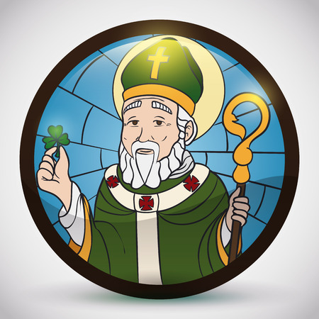 Round button with Saint Patrick image holding a clever for Irish celebration of the patron saint of Ireland.