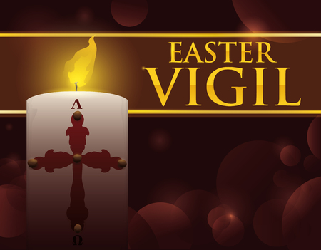 Commemorative design for Easter Vigil celebration with Paschal candle, dim light, golden text and bokeh effect in the background.