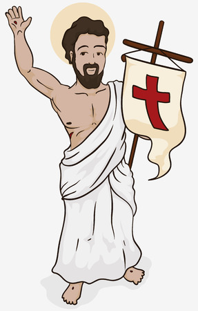 Poster representing Resurrection of Jesus, with Him saluting and holding a banner for the celebration of Holy Sunday. Stockfoto - 104790074