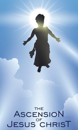 Affiche avec la silhouette de Jésus montant au ciel après sa mort et sa résurrection.