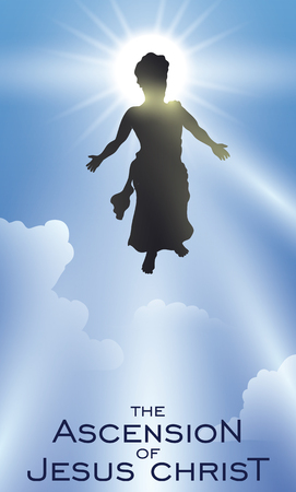 Poster with Jesus silhouette ascending to Heaven after his death and resurrection.