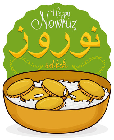Poster with traditional sekkel (coins with rice) in a bowl representing the prosperity and wealth for Nowruz (written in Persian) celebration. Illustration