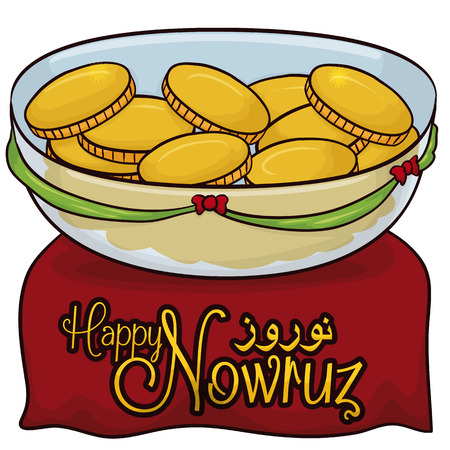 Poster with traditional golden coins (or Sekkeh) placed in crystal bowl with ribbons, for the traditional Haft-Seen for the table in Nowruz (written in Persian) celebration. Illustration