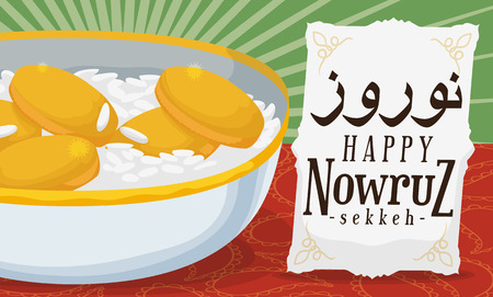 Banner with traditional Sekkeh (bowl with rice and coins) representing the prosperity and wealth in Iranian New Year celebration: Nowruz (written in Persian).