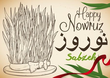 Poster with hand drawn design of wheatgrass (or Sabzeh) with red ribbon and some leaves that represents the rebirth and fertility in Nowruz (written in Persian) celebration. Illustration