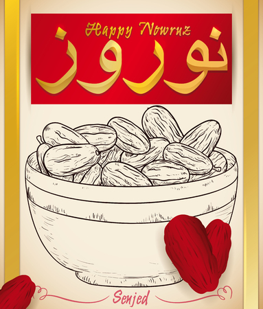 Hand drawn design of Senjed (dried oleaster Wild Olive fruits) in a bowl with real dried fruits  scattered around the poster, that represents the love in Nowruz (written in Persian) celebration.