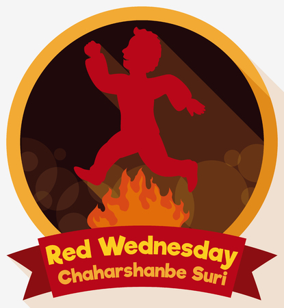 Flat design with round button and ribbon with man jumping over a bonfire that is a purifying practice in Orient festival of Chaharshanbe Suri. Illustration