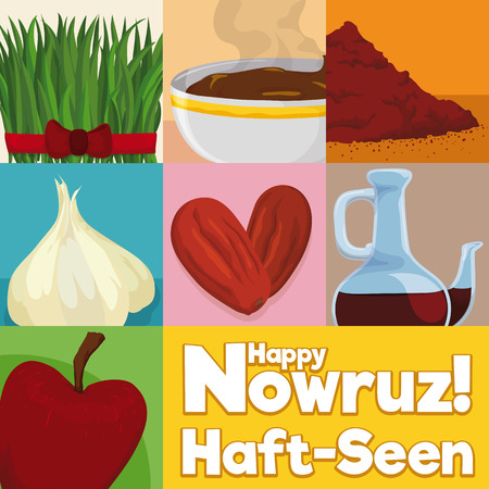 Poster with traditional and decorative elements for tabletop in Nowruz: wheat grass, sweet pudding, sumac powder, garlic, dried fruits, vinegar and apple. Illustration