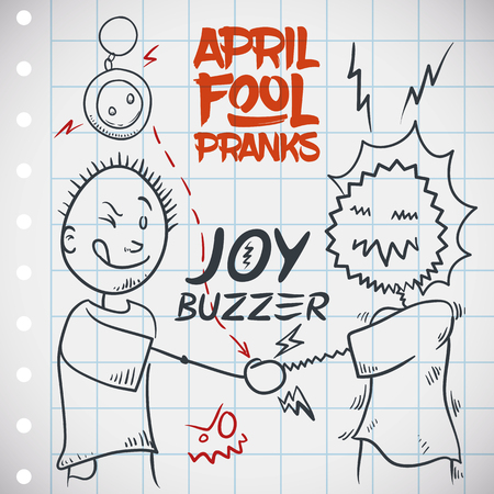 Funny joy buzzer prank for April Fools' Day with a draw of a man being shocked, so electrifying! Stockfoto - 114905585