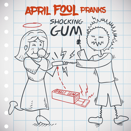 Man being pranked by his girlfriend in April Fools Day with classic shocking gum jape. Stock Illustratie