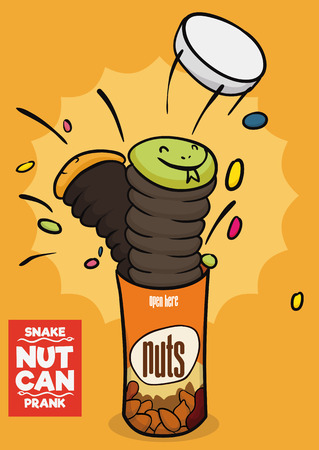 Surprising snake nut can for April Fools' Day being popped up.