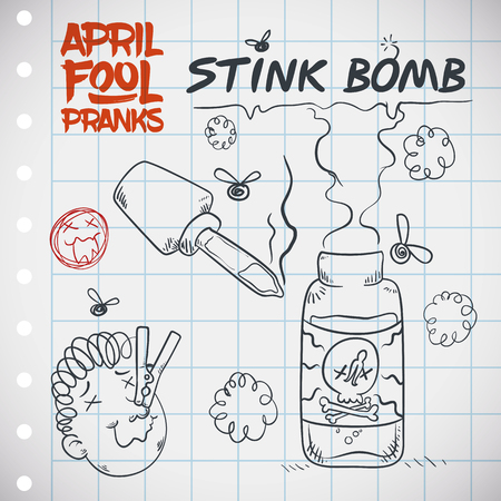 Hilarious plan for April Fools' prank explained with doodles for a fetid stink bomb in a squared paper. Stockfoto - 104896538