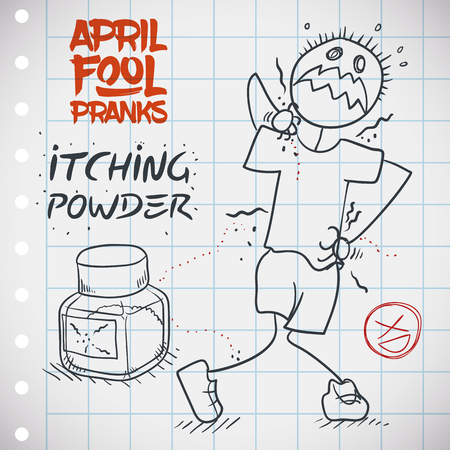 Poor April Fool with itching powder in his body being pranked. Stockfoto - 114905592