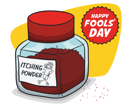 Itching powder in bottle poster promo sale for April Fools' Day.