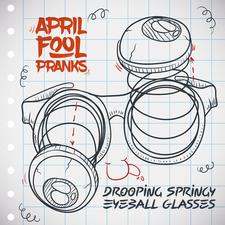 Drooping springy eyeball glasses draw in a notebook paper to do funny pranks in April Fools' Day. Stockfoto - 114905598