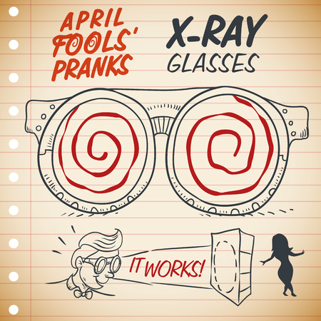 Funny X-ray glasses ad in a notebook that really works ready to be worn in April Fools Day in a retro style poster.