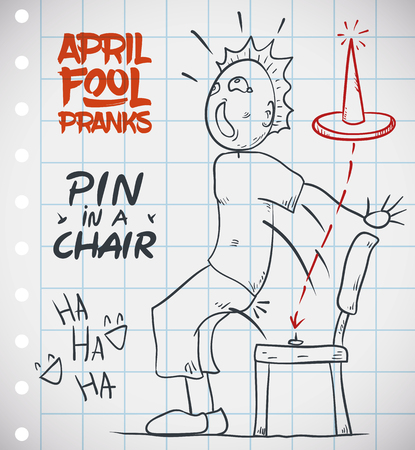 Unaware person don't see the pin and sits in the chair in April Fools' prank. Stockfoto - 114905602