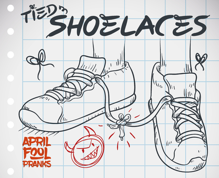 Doodle in a notebook paper with funny prank for April Fools' Day: tied shoelaces prank. Stockfoto - 114905605