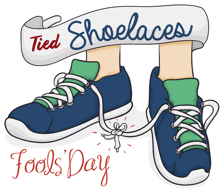Cartoon poster with traditional prank for Fools Day: tied shoelaces.