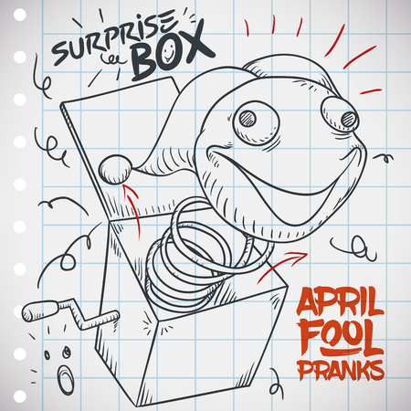 Notebook paper with doodle design with funny prank for April Fools Day: Jack-in-the-box prank. Illustration