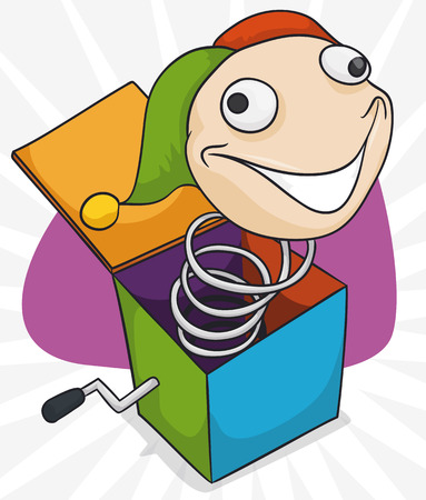 Poster with traditional Jack-in-the-box toy ready for pranks in April Fools' Day in cartoon style.