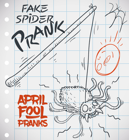 Hand drawn doodle of fake spider prank for a funny April Fools Day over a notebook paper.