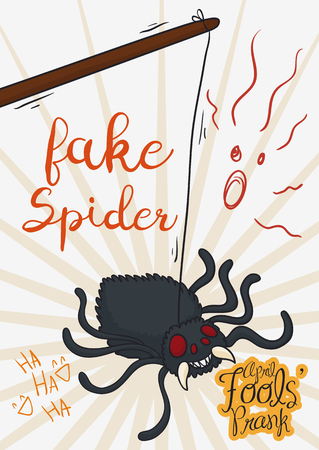 Cartoon poster with rope holding a fake spider ready to scare people in April Fools Day. 일러스트