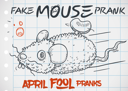 Furry fake mouse prank in doodle style drawn over notebook paper for a funny April Fools' Day. Stockfoto - 114905609