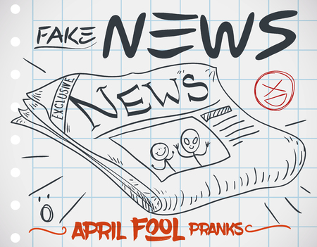 Fake news prank with a special edition of newspaper in doodle style over notebook paper for a funny April Fools Day.