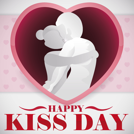 Couple in love embracing and kissing each other and showing their love inside a heart shape for Kiss Day celebration.