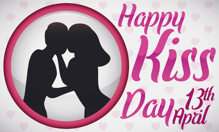 Banner with round button with a silhouette of a couple celebrating Kiss Day in April 13.