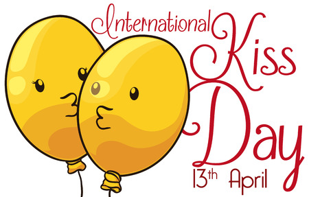 Banner with yellow cute couple of balloons celebrating Kiss Day with a passionate and tender kiss.
