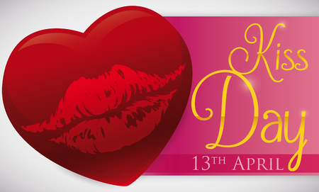 Banner with reminder date for Kiss Day and a romantic design with a red heart with lips mark inside of it.