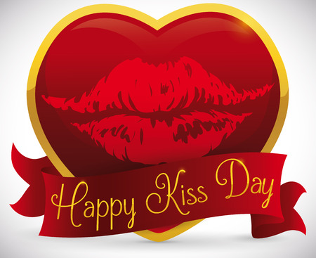 Romantic gift for Kiss Day celebration with a giant red heart with golden frame and printed lips mark covered for a ribbon with greeting message.