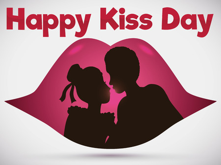 Couple silhouette celebrating Kiss Day in a romantic scene inside a lips.