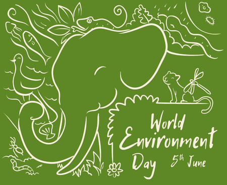 Elephant and other animals in-line style to celebrate World Environmental Day. Çizim