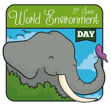 Tender elephant with a butterfly in a squared design to commemorate World Environment Day.