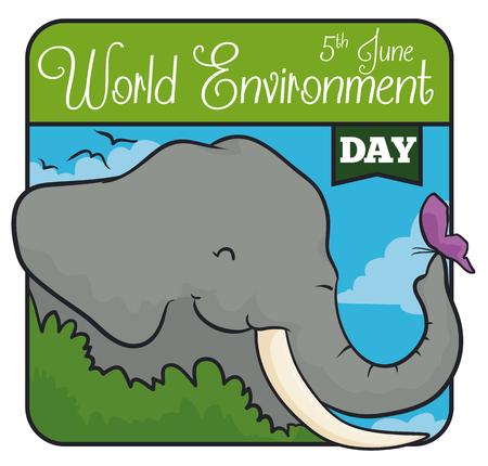 Zarter Elefant mit Schmetterling im quadratischen Design zum Gedenken an den Weltumwelttag.