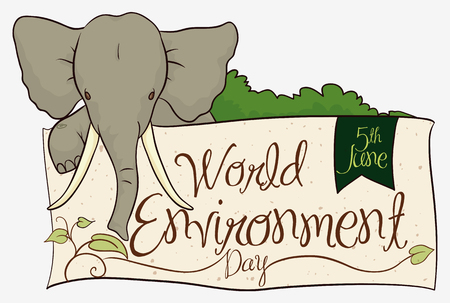 Elephant behind of greeting sign commemorating World Environment Day, decorated with leaves and ribbon.