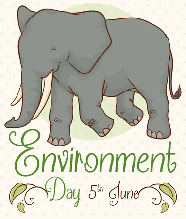 Cute smiling elephant in poster decorated with leaves and vines to celebrate Environment Day. Çizim
